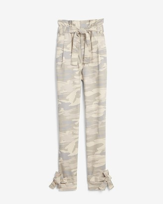 Express Super High Waisted Camo Paperbag Trouser Pant