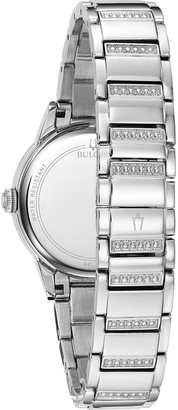 Bulova Crystal Collection Blue Mother of Pearl and TurnStyle Crystal Set Dial Crystal Set and Stainless Steel Bracelet Ladies Watch