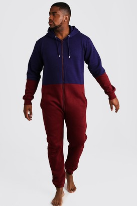 boohoo Mens Red Big & Tall Colour Block Onesie, Red