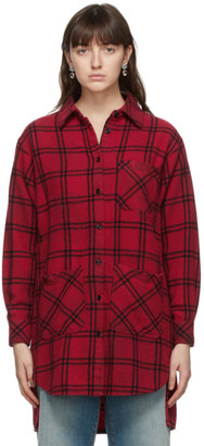 Gucci Red Wool Check Oversize Shirt Dress