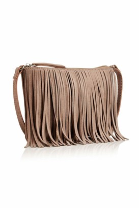 Hill & How Womens Fringed Crossbody Cross-Body Bag Grey (Grey/Pewter) 1x23.5x15 cm (W x H x L)
