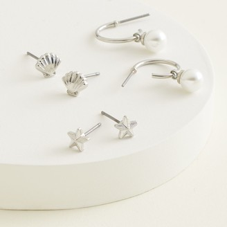Elizabeth and James Shell & Sea Star Stud Earrings & Simulated Pearl J-Hoop Earrings Set