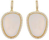Freida Rothman 14K Gold Plated Sterling Silver Flat Cut Mother of Pearl CZ Halo Earrings