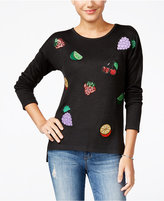 Oh!MG Juniors' Fruit Sequined Patch Sweater