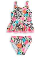Flapdoodles Little Girl's Floral Animal Tankini Top And Bottom Set