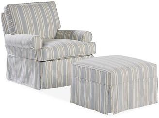One Kings Lane Sophie Swivel Chair & Ottoman Set - Federal Blue