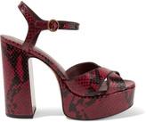 Marc Jacobs Debbie snake-effect leather platform sandals