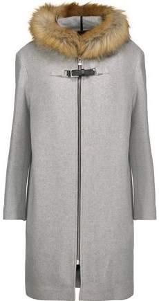 Maje Grafo Faux Fur-Trimmed Wool-Blend Felt Hooded Coat