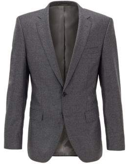 BOSS Slim-fit jacket in melange virgin wool