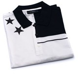 Givenchy Mens 100% Cotton Black & White Patterned Polo Shirt.