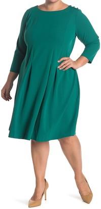Donna Morgan Boatneck Button Detail Fit & Flare Dress (Plus Size)