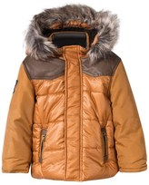 Catimini Orange Padded Coat with Faux Fur Hood