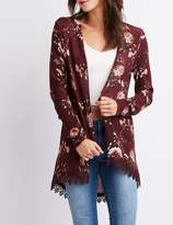 Charlotte Russe Floral Open-Front Duster Cardigan
