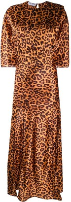 ATTICO Flared Leopard-Print Cocktail Dress