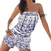 QIYUN.Z Casual Beach Slash Neck Strapless Tunic Jumpsuits Women Short Print Rompers
