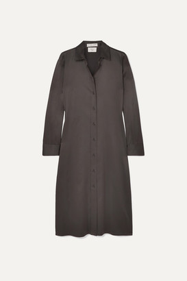 Bottega Veneta Stretch-silk Satin Shirt Dress - Brown