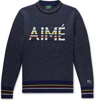 Woolrich Aimé Leon Dore + Logo-Intarsia Melange Wool Sweater
