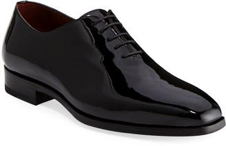 Magnanni Men's One-Piece Patent Leather Oxford Shoe, Black