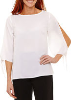 Sag Harbor Fiesta Elbow Sleeve Boat Neck Woven Blouse