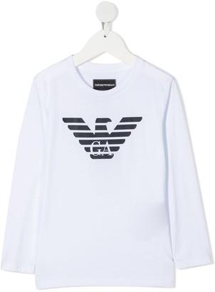 Emporio Armani Kids logo print long-sleeve T-shirt