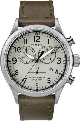 Timex Mens Chronograph Quartz Watch with Leather Strap TW2R70800