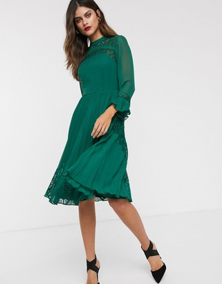 Asos Design DESIGN lace insert pleated midi skater dress with long sleeves-Green