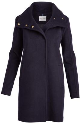 Cole Haan Women's Car Coats Midnight - Midnight Snap Wool-Blend Car Coat - Women