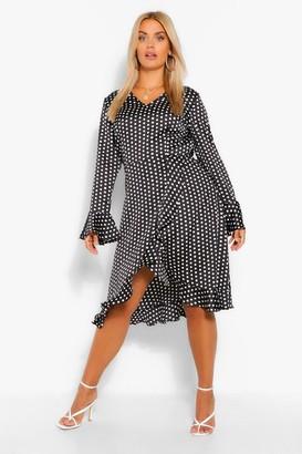 boohoo Plus Polka Dot Satin Ruffle Wrap Dress