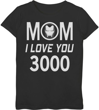 Marvel Girls 7-16 Iron Man Mom I Love You 3000 Mother's Day Tee