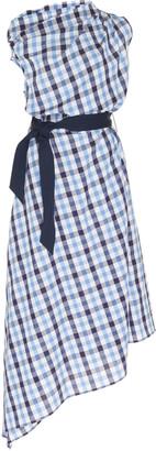 Martin Grant Asymmetrical Checked Cotton-Linen Midi Dress