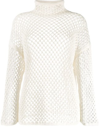 Agnona Mesh Construction Knitted Top