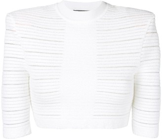 Balmain Sheer Panelled Cropped Top