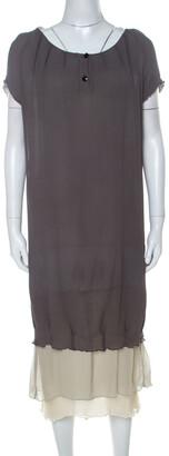 Fendi Grey Silk Ombre Fur Detail Layered Short Sleeve Dress M