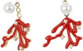 Kenneth Jay Lane Pearl Top with Gold/Red Enamel/Pearl Branch Drop Ear Jacket Earrings