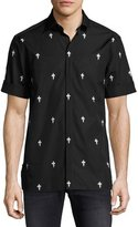 Neil Barrett Fleur de Lis Lightning Bolt Short-Sleeve Shirt, Black