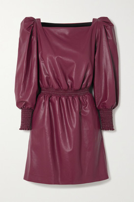 Philosophy di Lorenzo Serafini Shirred Faux Leather Mini Dress - Burgundy