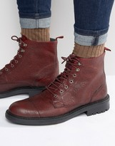 Walk London Liverpool Leather Lace Up Boots