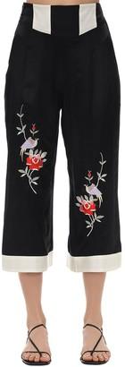 Morgan Lane Olive Embroidered Satin Pajama Pants