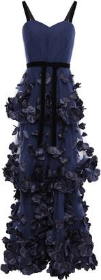 Marchesa Strapless Ruffled Point D'esprit Gown