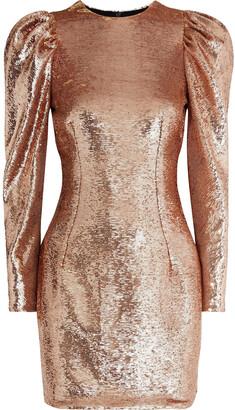 Alexandre Vauthier Gathered Sequined Mesh Mini Dress