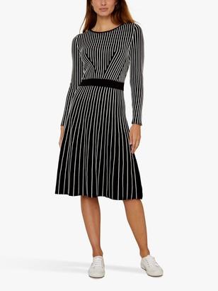Sosandar Stripe Knitted Dress, Black/Multi