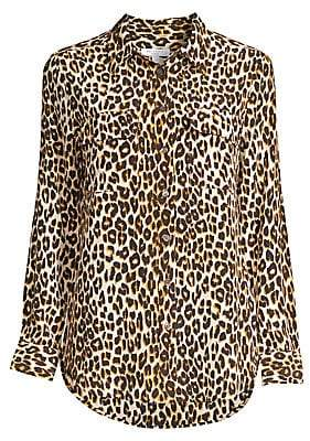 Equipment Women's Slim Signature Silk Leopard Print Shirt