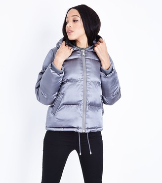 New Look Blue Vanilla Satin Hooded Puffer Jacket