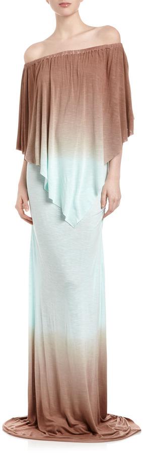 Young Fabulous & Broke Young Fabulous and Broke Fiona Double-Ombre Maxi Dress, Coffee/Light Blue