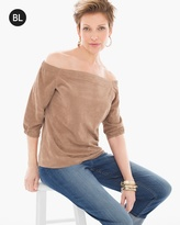 Chico's Off-the-Shoulder Faux-Suede Top