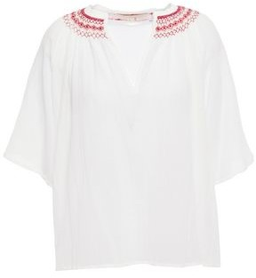 Vanessa Bruno Lias Gathered Embroidered Cotton-gauze Blouse