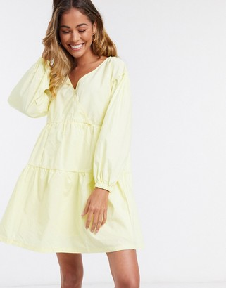 Daisy Street mini dress with wrap front and volume sleeves in cotton