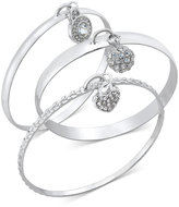 INC International Concepts Silver-Tone Trio Pave Charm Bangle Bracelet Set, Only at Macy's
