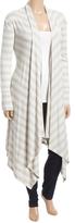 Glam White Stripe Handkerchief-Hem Open Duster - Plus