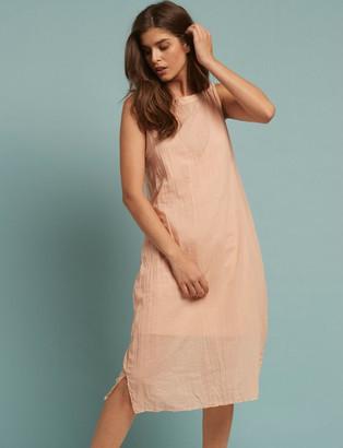 European Culture Peach Cotton Dress - cotton | Small (UK 10) | peach - Peach